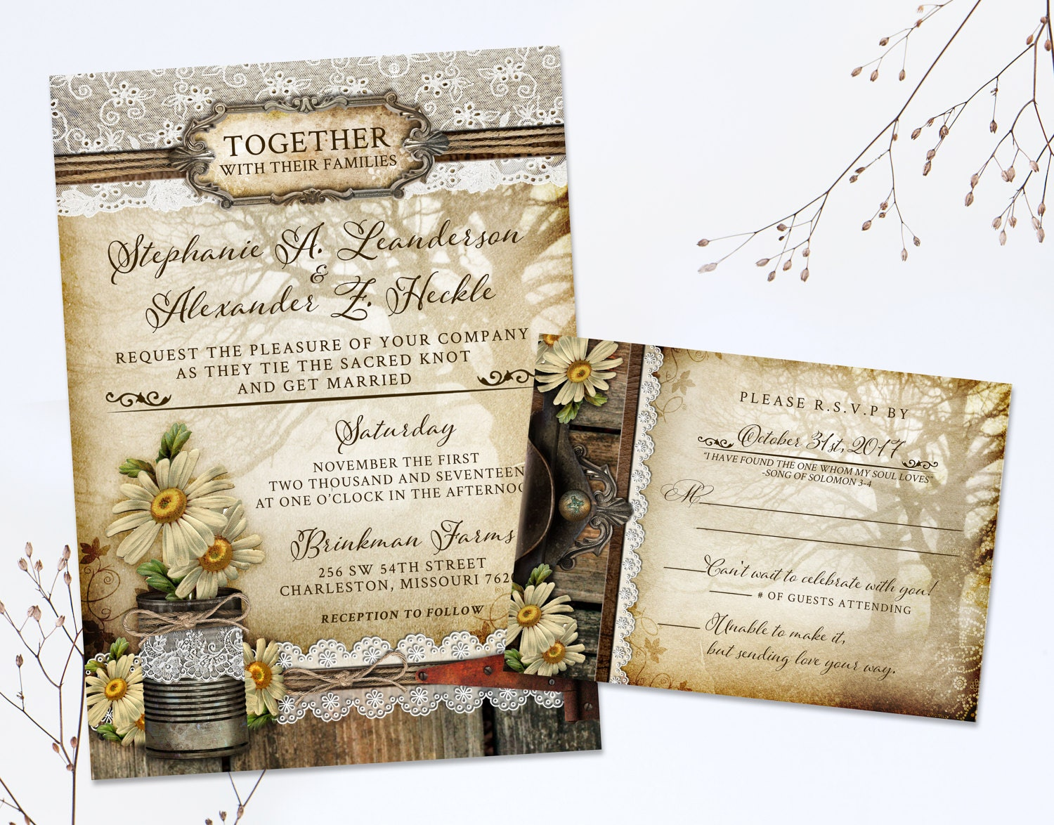 50: Floral Wedding Invitations With Tree At Websimilar.org