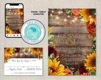 Wedding Invitation and RSVP Template, Fall Sunflowers & Burgundy Roses Invitation Suite, Editable Printable File,Instant Download, Corjl