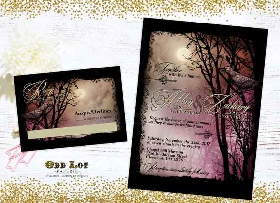 halloween wedding invitation set printable halloween wedding etsy