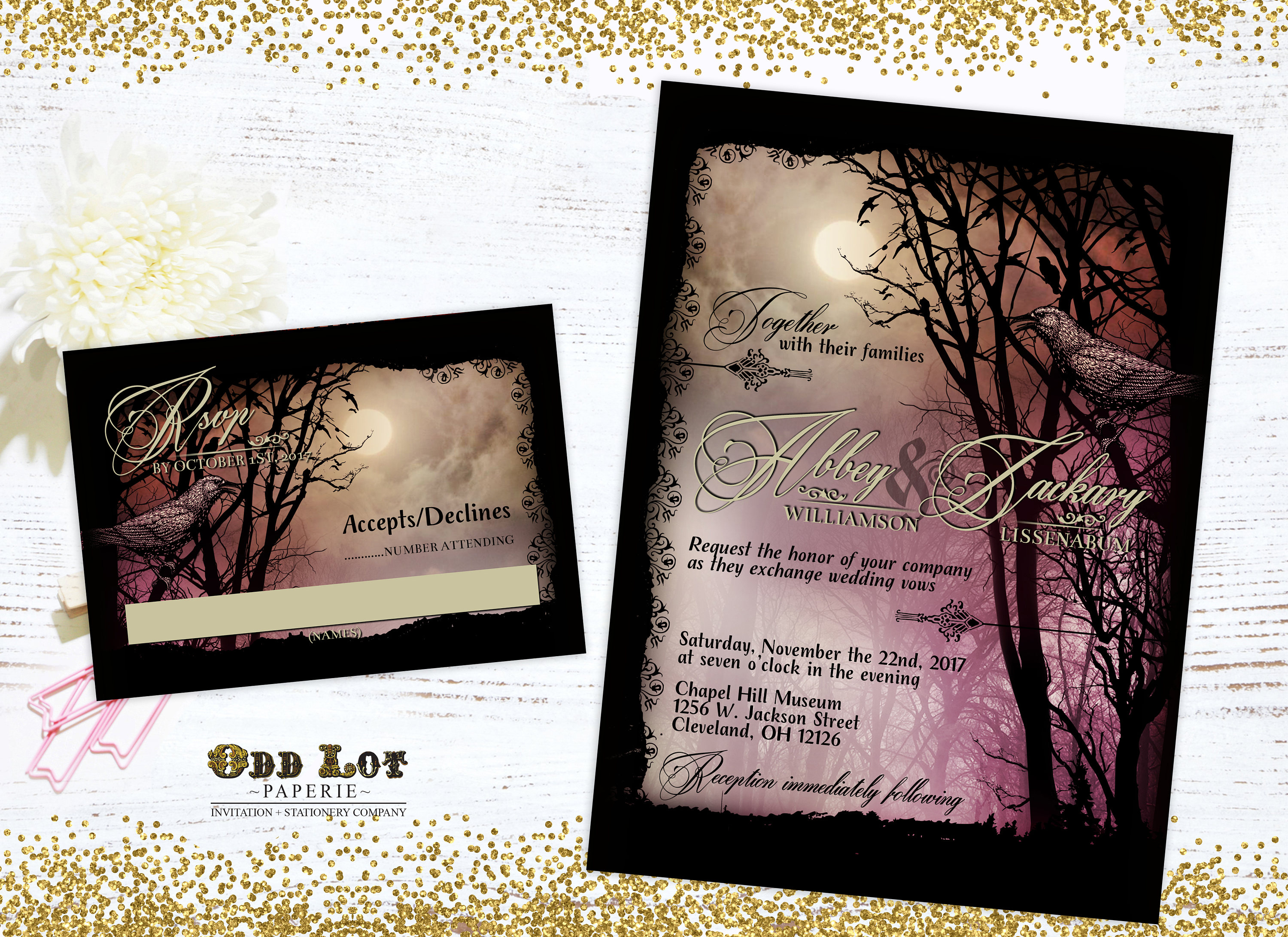 Halloween Wedding Invitation: Halloween Wedding Invitation Set Printable Halloween