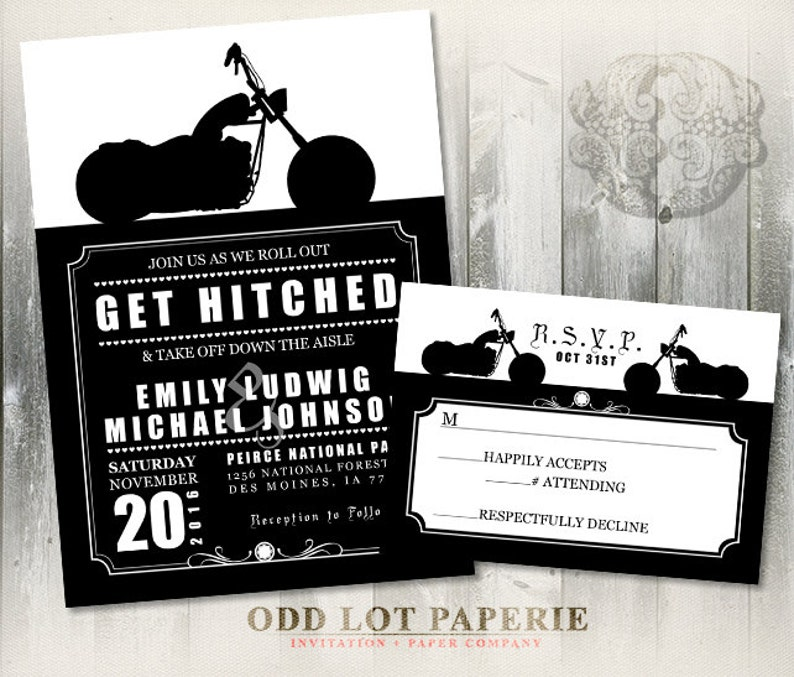 Biker Motorcycle Wedding Invitation Diy Printable Digital Etsy