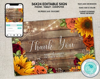 Wedding Sign, 36X24 landscape, Editable Thank You Sign Template, Rustic Wood Fall Sunflowers & Roses, Wedding Thanks,  Editable Corjl File