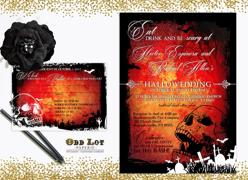 Halloween Wedding Invitation Gothic Wedding Invite Skull image 0