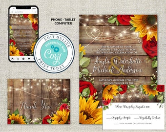 Set of 3, Wedding Invitation, RSVP and Thank You Card Template, Rustic Wood with Sunflowers & Roses Invitation Suite, Editable Corjl File