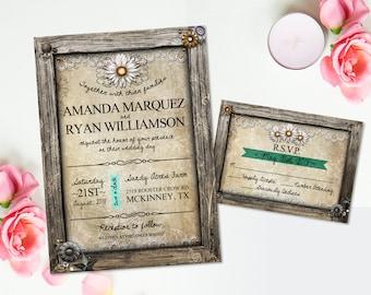 Rustic Wedding Invitation RSVP Card White Daisy Flowers DIY Invitation Rustic Wedding Country Wedding Stationery Suite Floral Invitation