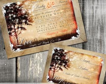 Rustic Trees Bokeh Lights Wedding Invitation and RSVP - Digital or Printed - Rustic wonderland wedding stationery