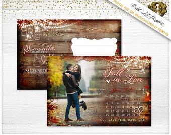 Rustic Fall Save the Date - Autumn Save the Date - Fall Save the Date - Fall Wedding -Rustic Save the Date - Save the Date Calendar Card