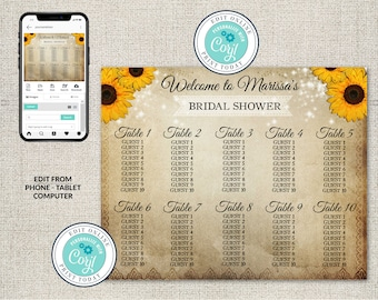 Rustic Sunflower Seating Chart, Yellow Sunflower with Twinkle Lights, vintage rustic,Corjl DIY Editable Table Chart, Bridal Shower, Wedding