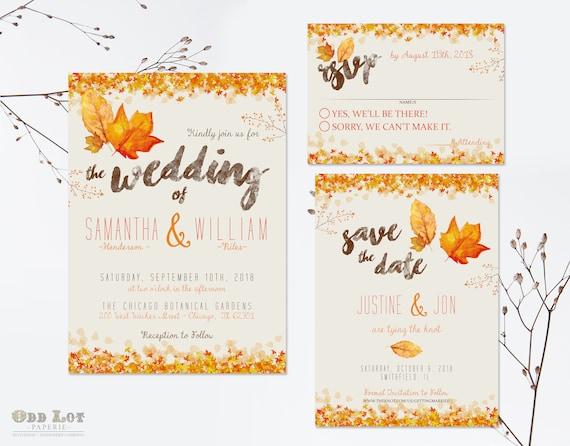 Fall Wedding Invitation Wording: Autumn Wedding Invitation Set Fall Wedding Invitations DIY
