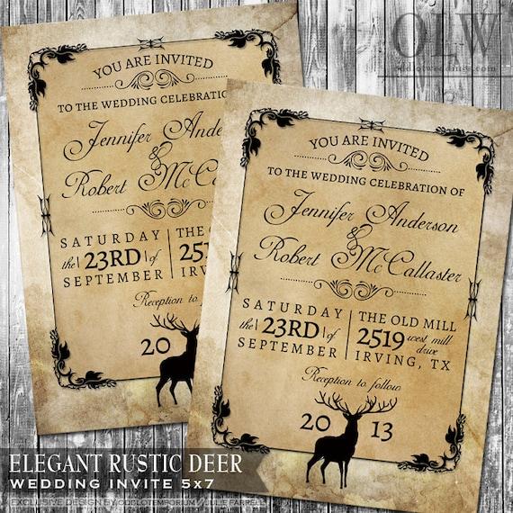 Großartig Rustikale Wald Hochzeit Einladung Hirsch Holz Herbst Hunter | Etsy