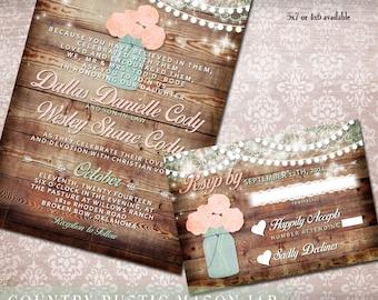 Mason Jar Wedding Invitation Set, Rustic Wedding Invitation, wood, flowers, Printable Wedding Invitation and rsvp, digital printable