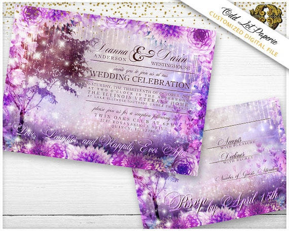 Enchanted Forest Themed Wedding Invitations: Enchanted Forest Wedding Invitation Fairy Tale Themed