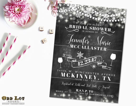 snowflake bridal shower invitation winter bridal shower etsy