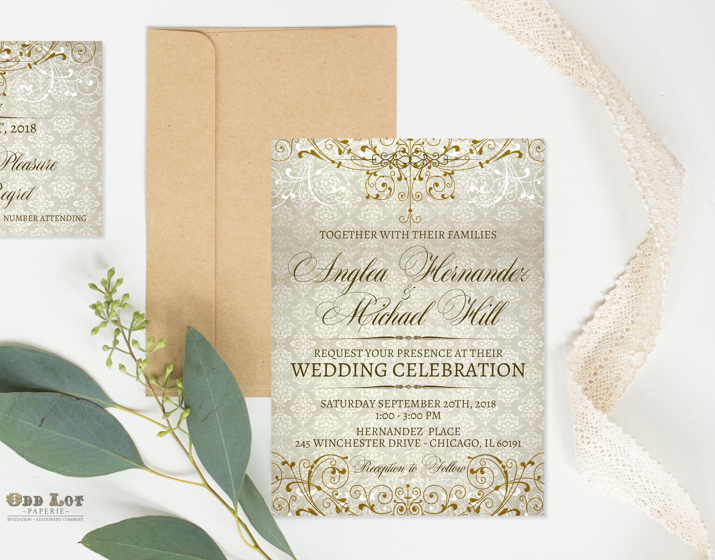 Fancy Wedding Invitation Calligraphy Classic Ornate Flourish Gold Personalized Set: Vintage Flourish Wedding Invitations Diy At Reisefeber.org