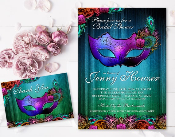 masquerade bridal shower invitation diy printable etsy