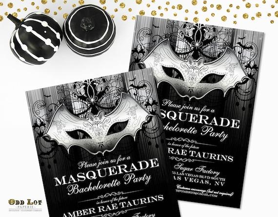 Masquerade Party Invitation Halloween Invite Gothic Bat