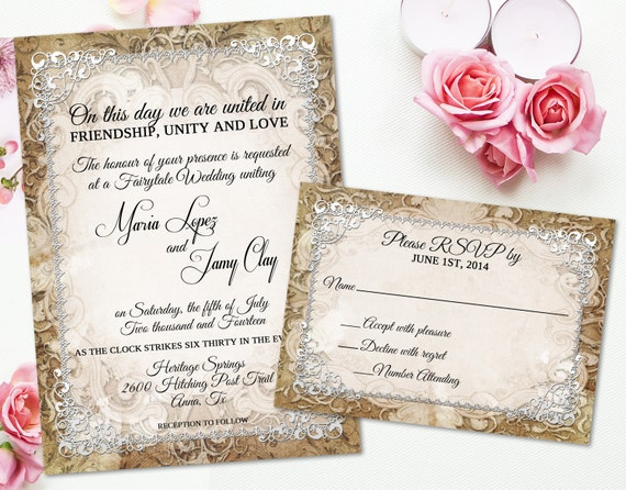 Medieval Wedding Invitation Rustic Parchment Paper Ornate
