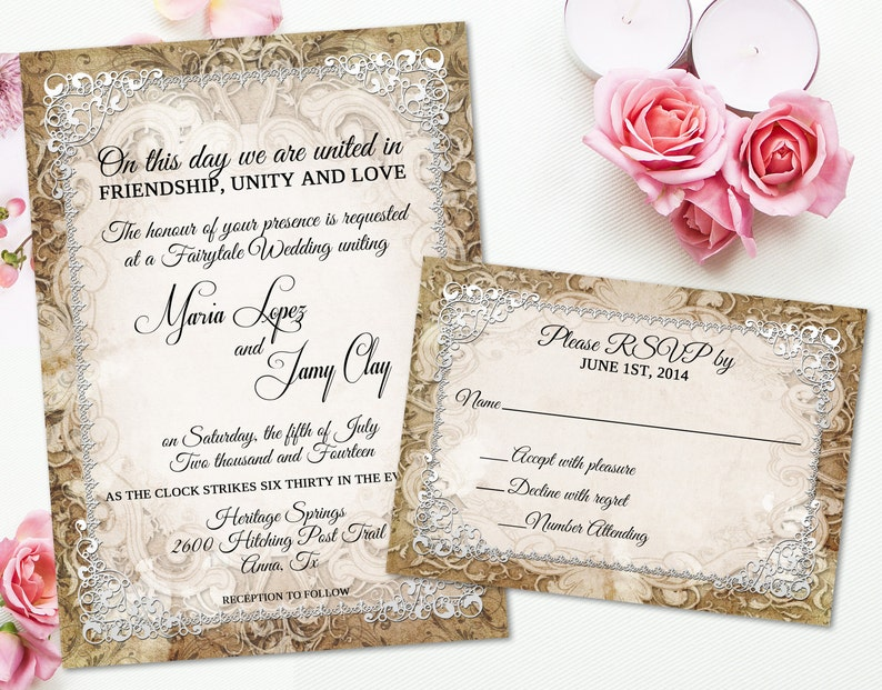 Medieval Wedding Invitation Rustic Parchment Paper Ornate Etsy