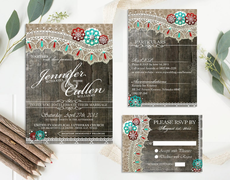 Rustic Lace Wedding Invitations Set Invitation With Rsvp Card And Insert DIY Wood