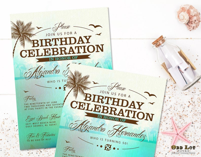 Beach Birthday Invitations Tropical Party