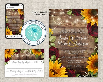 Set of 2, Wedding Invitation and RSVP Template, Rustic Wood with Sunflowers & Roses Invitation Suite, Burgundy Roses, Editable Corjl File