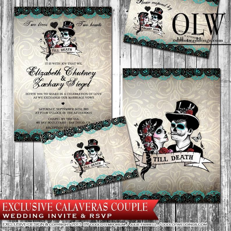 c67a4665ad72 Calaveras Sugar Skull Wedding Invitation and RSVP Set Digital