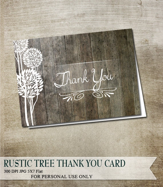 Country Rustic Thank You Card Wood Plank And Trees Greeting Card