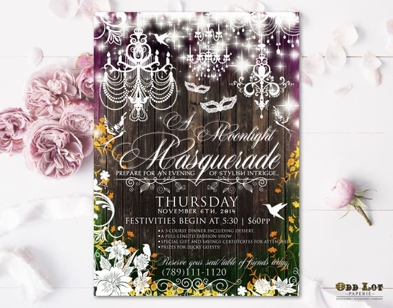 Masquerade Party Invitation Moonlight Printable Invite