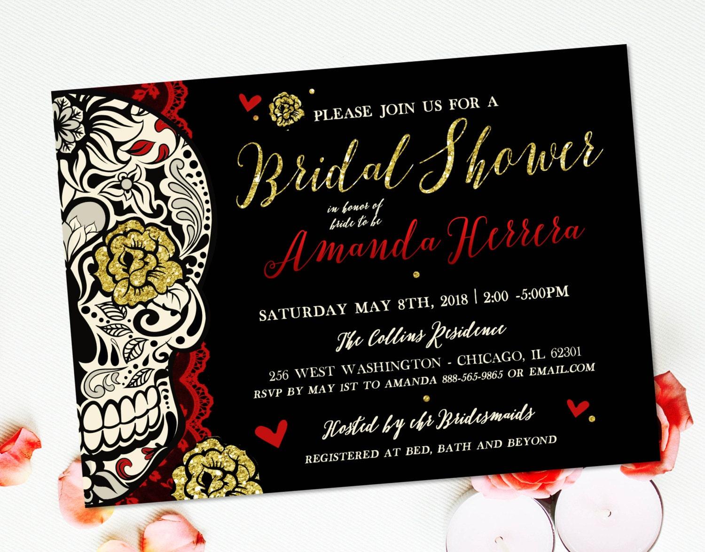 Day Of The Dead Wedding Invitations: Sugar Skull Bridal Shower Invitation Offbeat Wedding Day