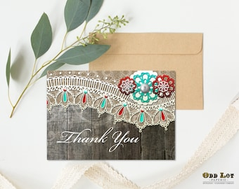 Rustic Lace Wedding Thank You Card, printable thank you card,  burlap, lace and vintage lace, DIY printable rustic lace wedding thank you