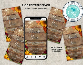 Thank You Favor Tag Template, Editable Thank You Tag, Shower Tag Printable, Instant Download, Personalized, Rustic Fall Sunflowers Roses