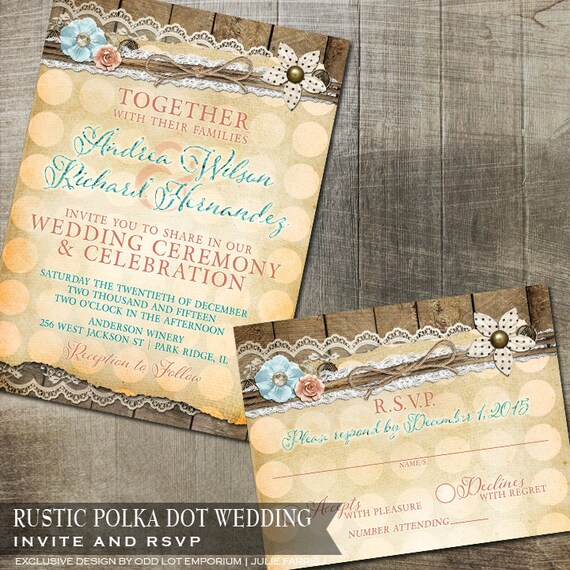 Rustic Lace Polka Dot Invitation Rustic Wedding Invitation