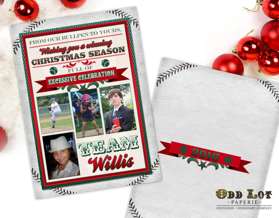 Christmas Sports Background.Baseball Christmas Cards Sports Themed Christmas Cards Printable Christmas Cards Any Sports Team Team Colors Diy Printable Invite New Year