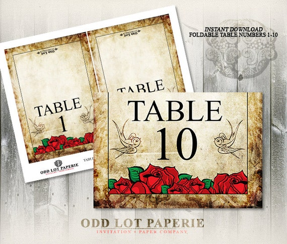 Stupendous Rose Printable Table Number Folded Cards Diy Table Number Download Free Architecture Designs Rallybritishbridgeorg