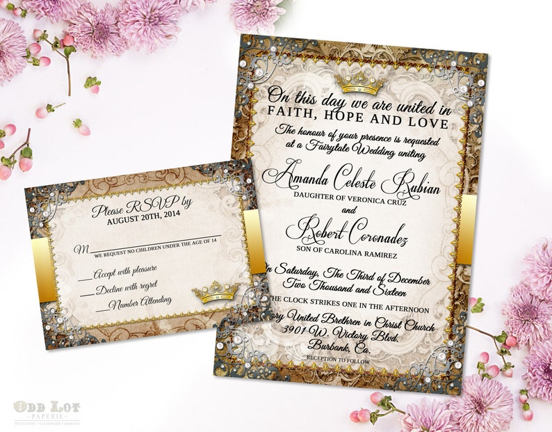 Fairytale Wedding Invitation Once Apon A Time Oranate Invite Etsy