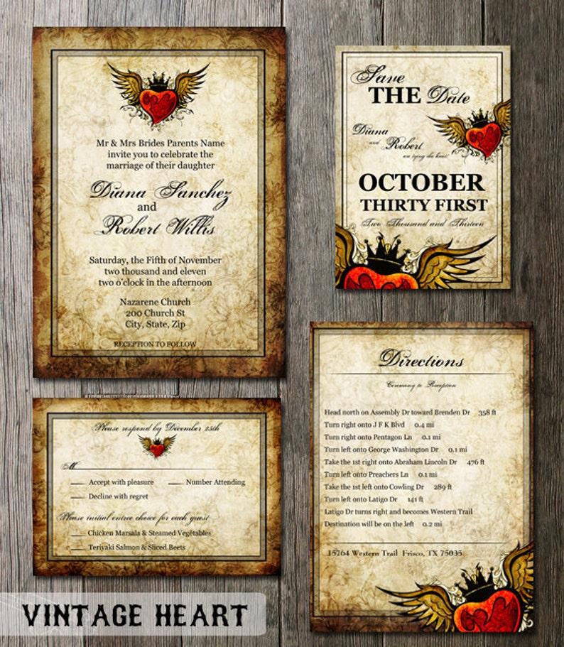 Vintage Wedding Invitation Wedding Printable Stationery Tattoo Winged Heart Wedding Invitation Heart Invitation DIY Wedding Invitation