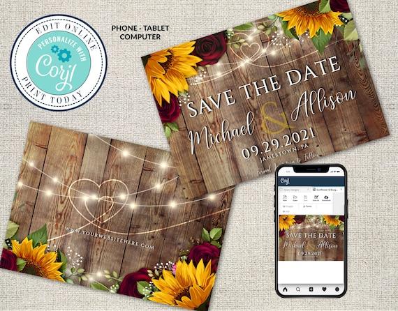 Templates Fall Sunflower /& Roses Wedding Set Corjl