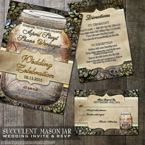 Outdoor Themed Wedding Invitations: Mason Jar Wedding Invitation Rustic Wedding Country