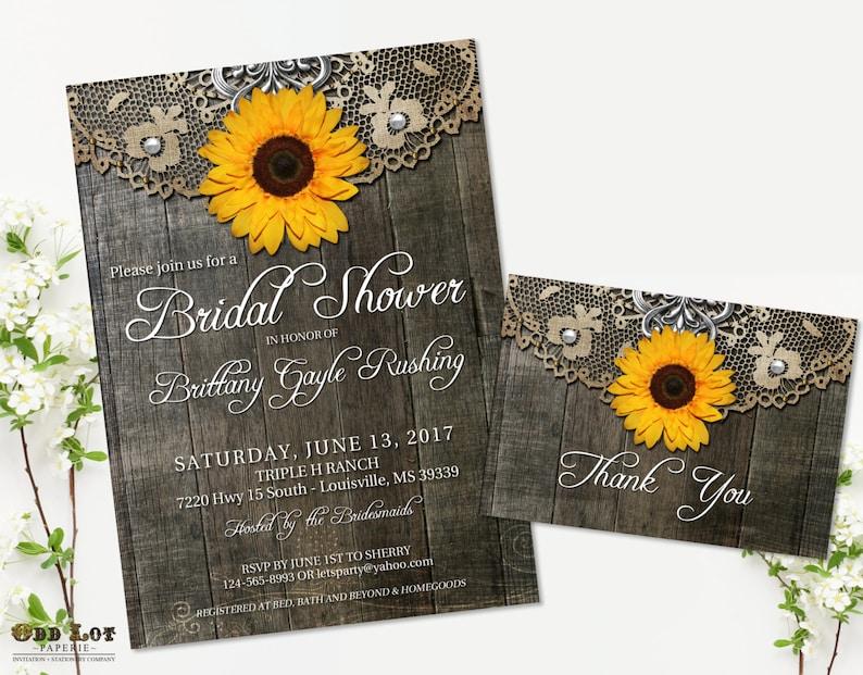 8aac27426154 Sunflower Bridal Shower Invitation Set Rustic Bridal Shower