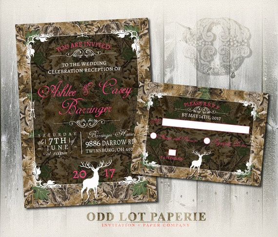 Camo Wedding Invitation And Rsvp Set Rustic Wedding Invitation Deer Wedding Invite Wood Fall Hunter Diy Printable Camo Deer Wedding Suite By Odd Lot Paperie Catch My Party