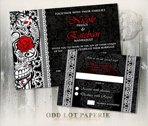 Sugar Skull Wedding Invitation Calaveras Wedding Halloween   Etsy