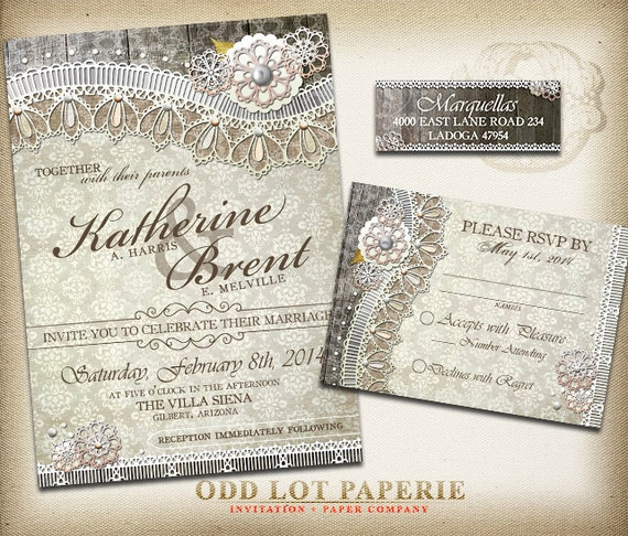 Rustic Lace Wedding Invitation And Rsvp Stationery Lace Burlap