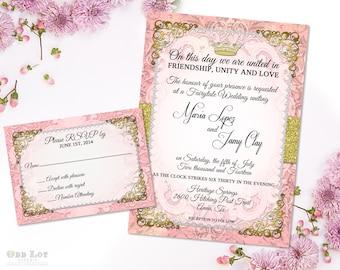 Fairytale Wedding Invitation Set Blush and Gold Romantic Invite Ornate Wedding Invite RSVP Printable Wedding Invitations Enchanted Wedding