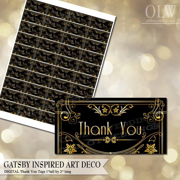 gatsby inspired art deco thank you label diy avery labels for etsy