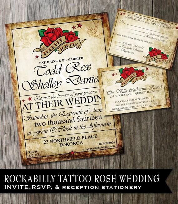 Rockabilly Wedding Ideas: Rockabilly Wedding Invitation Tattoo Rose Wedding Invite