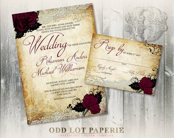 Rose Wedding Invitation Set, Printable Invitation, Romantic Invitation, Digital Invitation, Vintage Paper, Lace, Roses, Gothic wedding