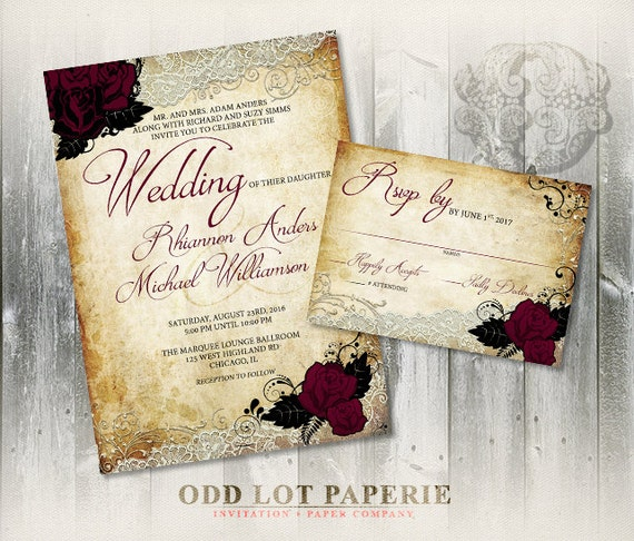 rose wedding invitation set printable invitation romantic