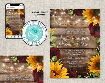 Wedding Invitation Template, Rustic Wood with Sunflowers & Roses Invitation Suite,Rustic Burgundy,  Wood Wedding Invite Editable Corjl File
