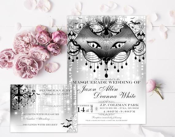Masquerade Wedding Invitations: Masquerade Wedding Invitation Rustic Wedding Invite