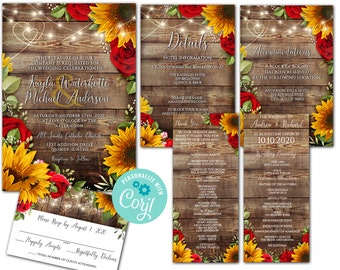 Custom Order for Larii Castillo- 5 items - sunflower and Rose Wedding Products - editabl corjl wedding invite files
